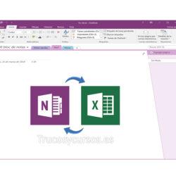 OneNote, importar y exportar un libro Excel