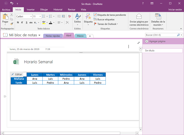 OneNote con libro Excel importado