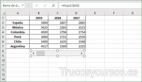 Hoja Excel con control de desplazamiento