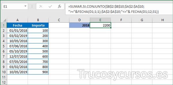 Celda E1 con la suma del año 2018 en Excel