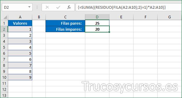 Celda D2 mostrando 20 como la suma de las filas impares