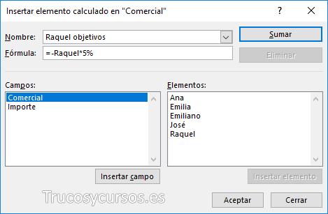 Ventana insertar elemento calculado con Raquel objetivo =-Raquel*5%