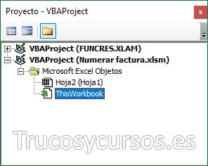 Panel de proyecto con el objeto ThisWorkbook seleccionado
