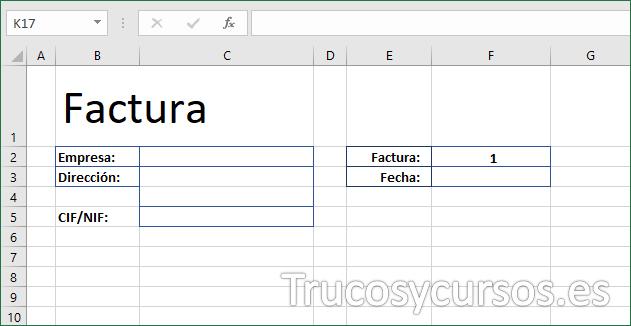 Hoja Excel con los rótulos de la factura