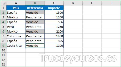 Hoja Excel con las celdas seleccionadas con Vencido