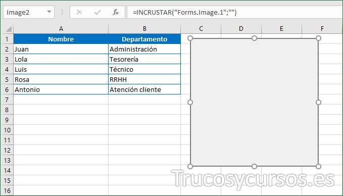 Hoja Excel con el control imagen insertado