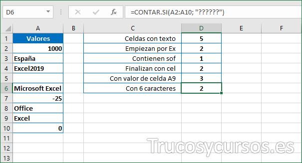 Celda D6 con el número de celdas con 6 caracteres