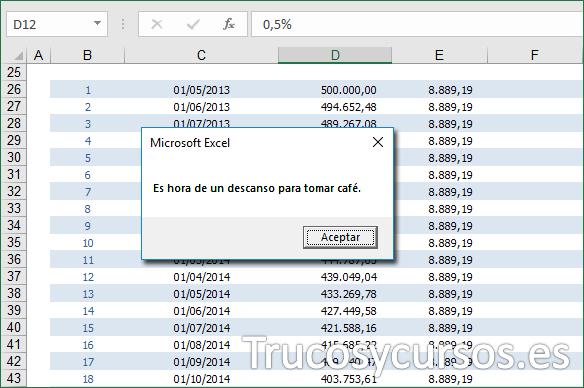 Hoja Excel mostrando el mensaje de aviso a la hora indicada