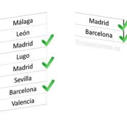 Valores de una columna que coincidan con los indicados desde otra columna en Excel