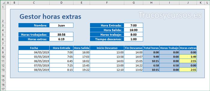 Hoja con la plantilla que gestiona las horas extras de los trabajadores en Excel