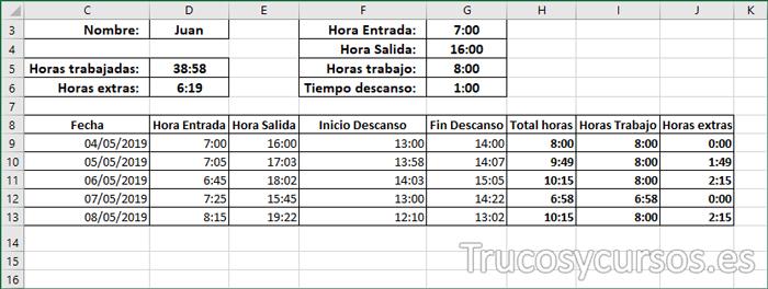 Plantilla Excel con los cálculos de las horas extras