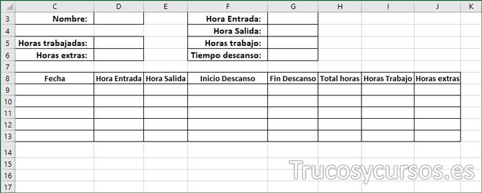 Plantilla Excel con los rótulos y encabezados