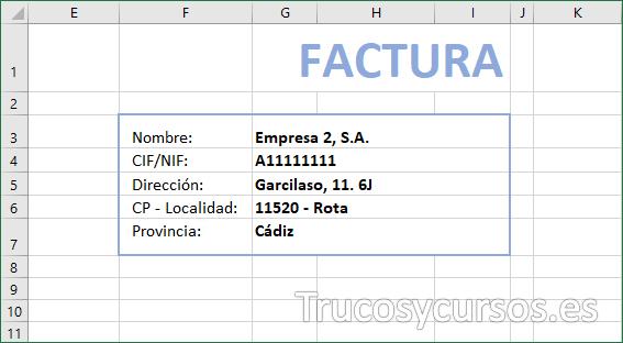 Hoja Excel con datos del cliente