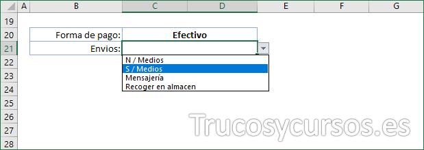 Hoja Excel mostrando forma de pago y envíos