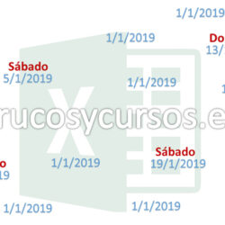 Identificar sábados y domingos en fechas Excel