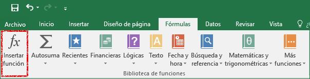 Pestaña fórmulas con el comando insertar función