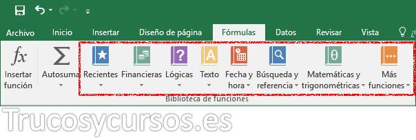 Pestaña fórmulas con los comandos del grupo biblioteca de funcines