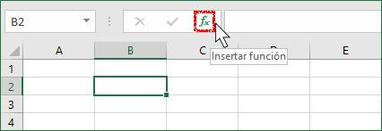 Barra de fórmulas mostrando el botón insertar función