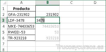 Hoja Excel con relleno rápido