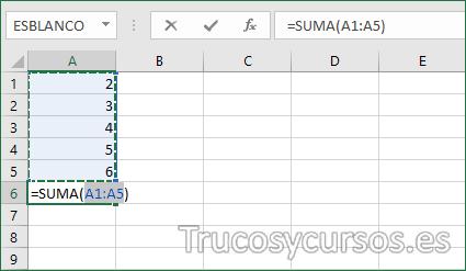Hoja Excel con suma por atajo de teclado