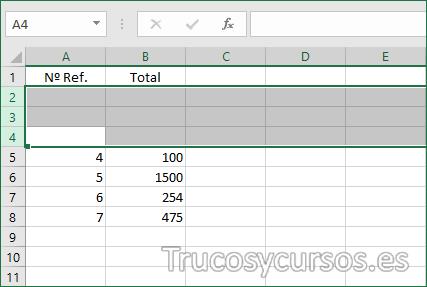 Hoja Excel con 3 filas insertadas
