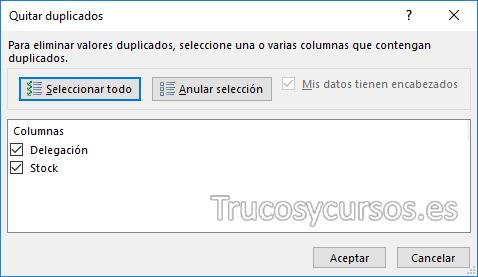 Ventana Excel quitar duplicados