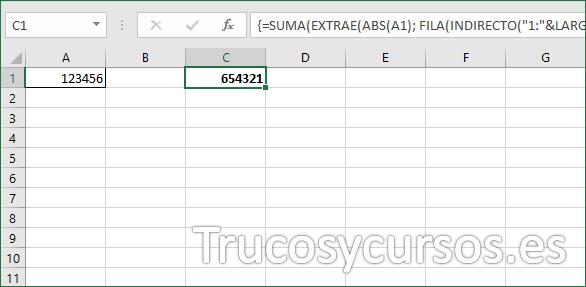 Celda C1 con el valor invertido en Excel