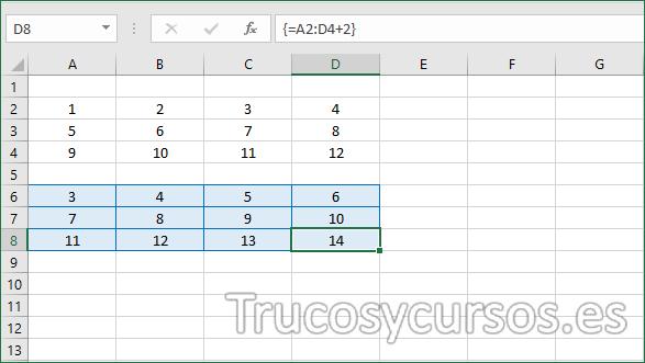 Resultado de la matriz Excel