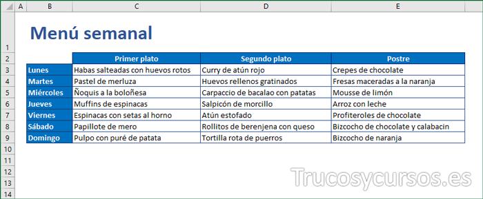Plantilla que organiza tus comidas con el menú semanal de Excel