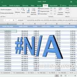 El error #N/A en Excel