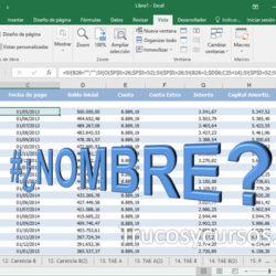 El error #¿NOMBRE? en Excel