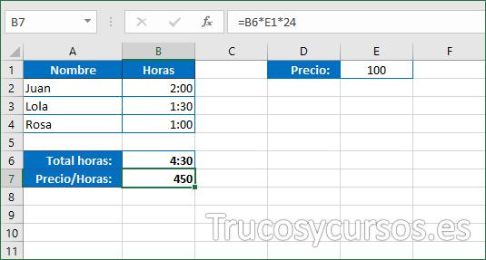 Cálculo Excel con precio hora