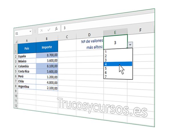 Remarcar el número de valores superiores en Excel