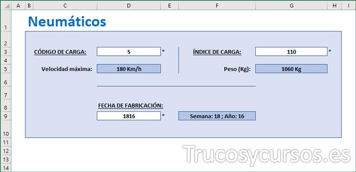 Plantilla código de velocidad e índice de carga de tus neumáticos en Excel