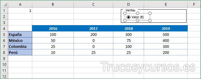 Hoja Excel con el control de opción valor €