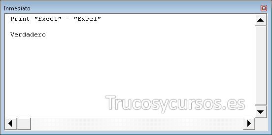 Ventana de inmediato de VB Excel
