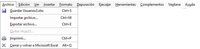 Barra de menús de VB Excel, mostrando el menú archivo