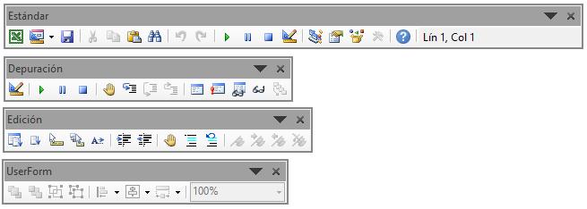 Barras de herramientas de VB Excel