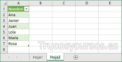Hoja2 con los datos nombre sin duplicados