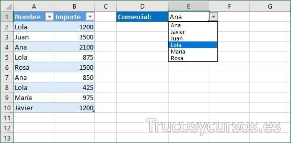 Hoja Excel con la validación sin duplicados