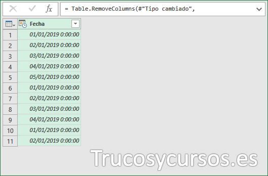 Entorno PowerQuey con la única columna fecha