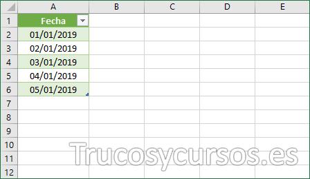 Nueva hoja Excel con fechas sin repetidos
