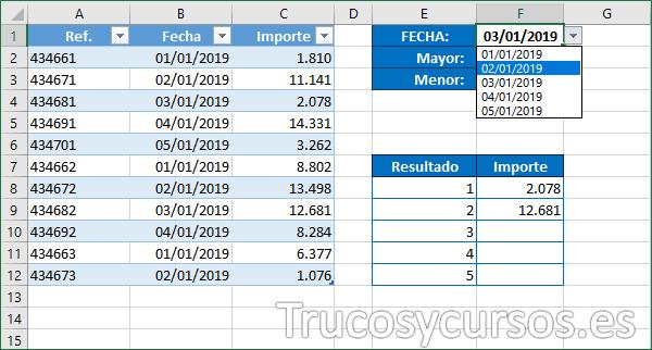 Hoja Excel con la plantilla selecciona fecha y muestra los resultados