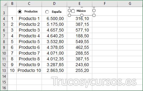 Hoja Excel con control México