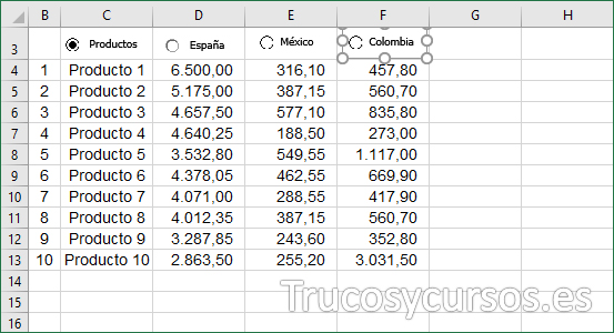 Hoja Excel con control Colombia