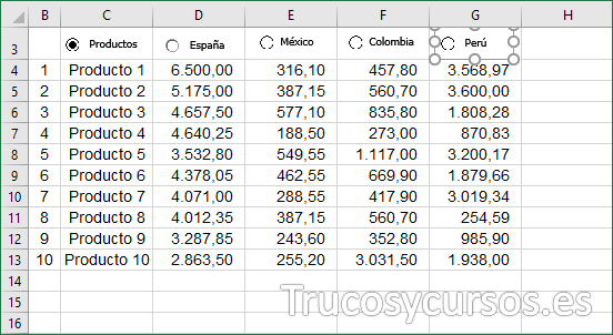 Hoja Excel con control Perú