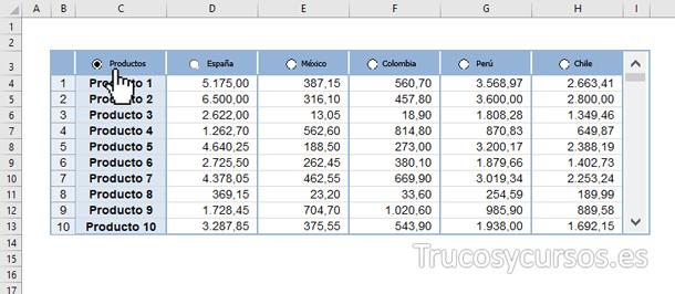 Hoja Excel con formato condicional en Producto al seleccionarlo