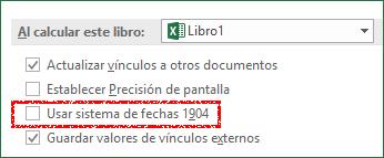 Ventana de opciones de Excel
