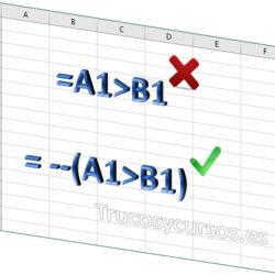 El doble negativo (--) en fórmulas Excel