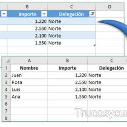 Obtener datos de un filtro en Excel